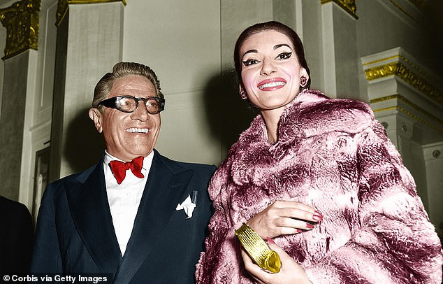 Abusive Aristotle Onassis with Callas.She was regularly drugged by her violent lover, Greek shipping tycoon Aristotle Onassis, so he could sexually abuse her; swindled by her husband and father, and blackmailed by a mother who tried to force her into prostitution