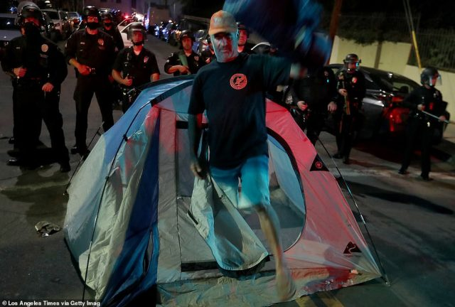 There are homeless outside of Skid Row, too: Last month brought clashes with the police when they tried clearing the Echo Park Lake encampment toward the end of March