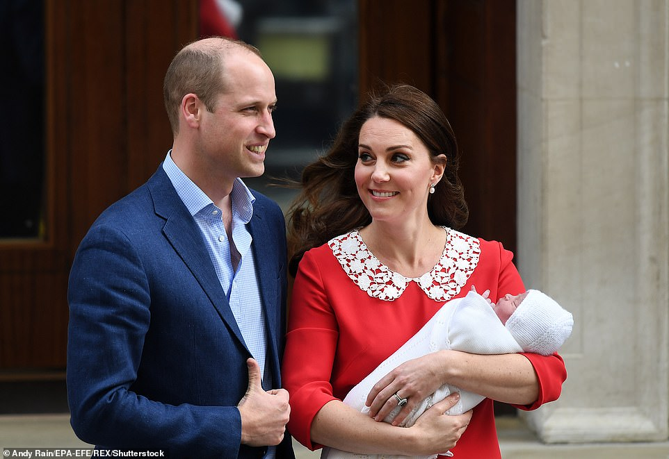 The Duke and Duchess of Cambridge with Prince Louis outside the Lindo Wing at St Mary's Hospital in Paddington,