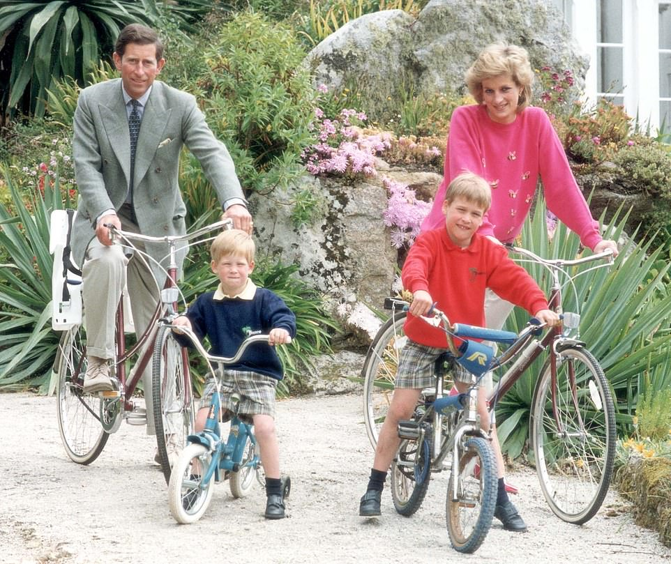Kensington Palace has not revealed the hours when Louis will be attending, but previously the Duke and Duchess of Cambridge have started off their children on morning or afternoon sessions. Pictured: Prince William enjoying a bike ride in Tresco on the Isles of Scilly in Cornwall in 1989 with brother Harry and their parents Charles and Diana