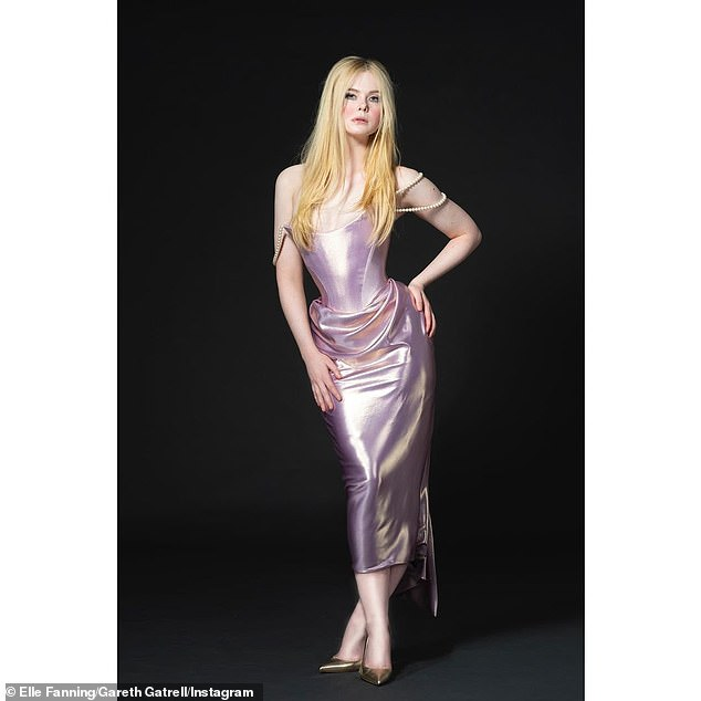 Wow!Elle Fanning made jaws drop in a custom Vivienne Westwood gown inspired 'by Catherine the Great's love of pearls!' as she made a virtual appearance during the36th Annual Film Independent Spirit Awards on Thursday