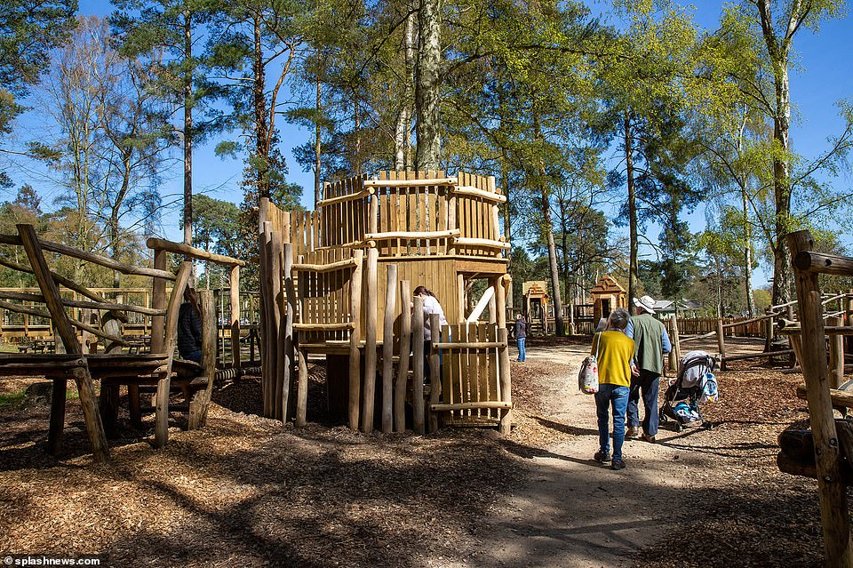 Phase one of the spectacular new woodland playground, which has replaced an existing smaller play area, is now complete with an array of stunning treehouses and walkways