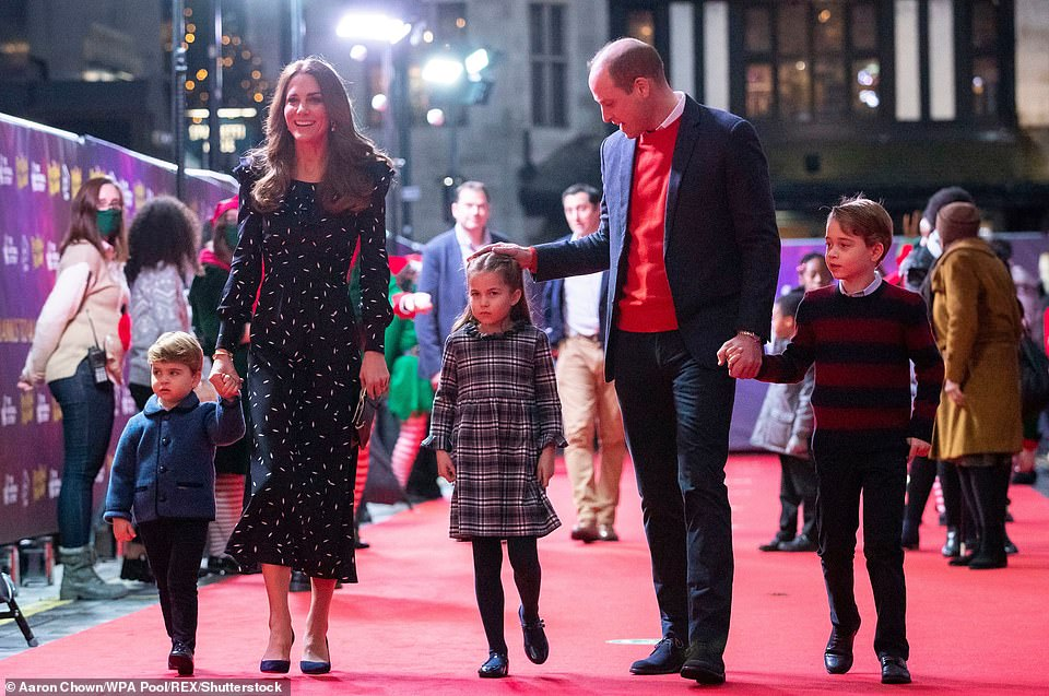 The Duke and Duchess of Cambridge with Prince Louis, Princess Charlotte and Prince George, as they attend a special pantomime performance at London's Palladium Theatre in 2020