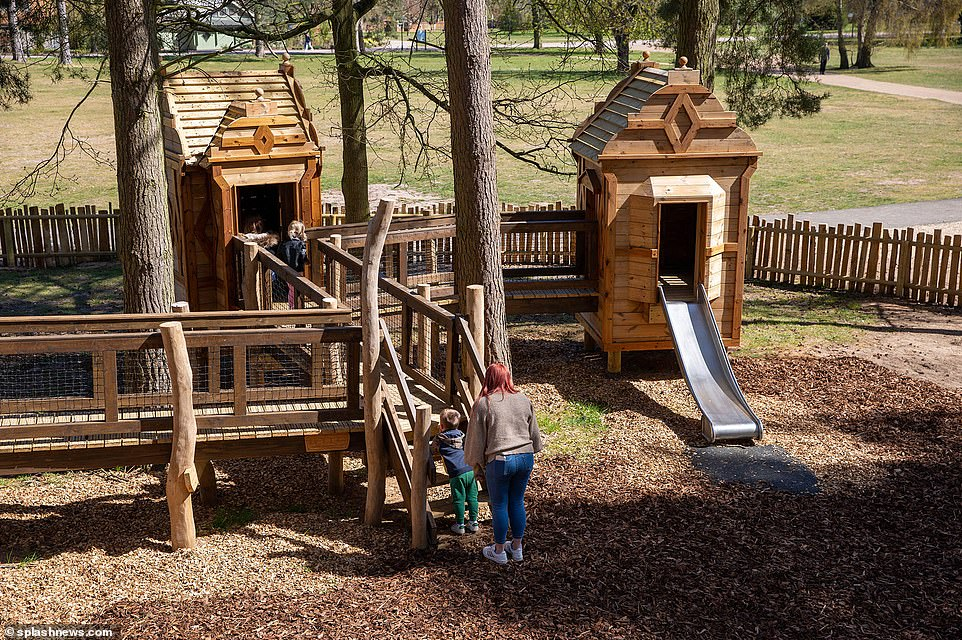 Youngsters, parents and grandparents were seen trying the adventure playground out this afternoon after it was finally unveiled