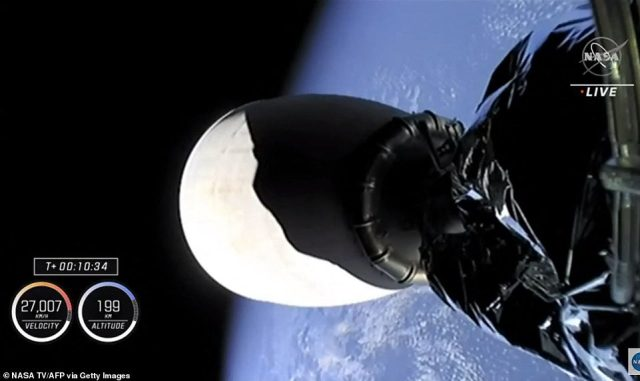 Falcon 9's second stage was travelling at over 10,000 miles per hour as it entered orbit
