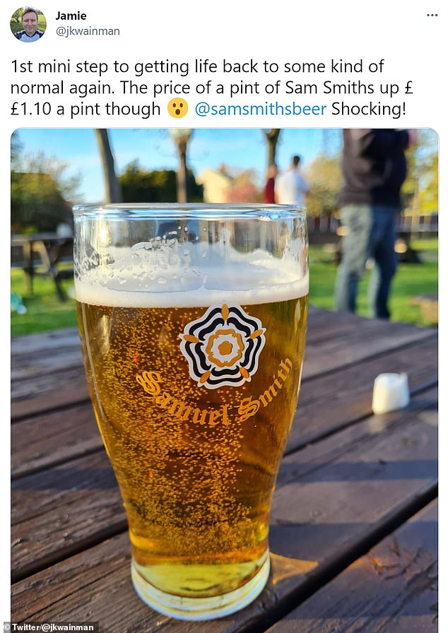 Social media users blasted the 'shocking' price increase, claiming a Sam Smiths beverage has risen by £1.10 (tweet pictured above)