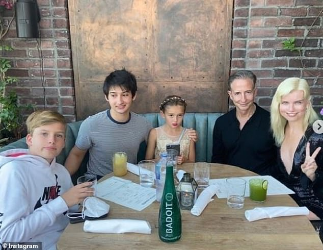 Eugenia, husband Bill Block, and their two sons and daughter celebrate Father's Day last June