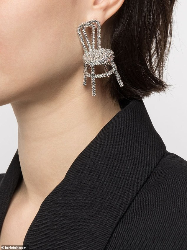 It matches: Those interested in buying it may be pleased to know that the brand also sells a crystal-embellished chair earring for $380