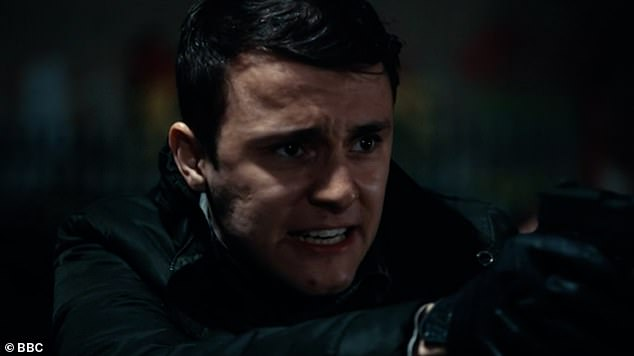 Dramatic:After screaming at each other to drop their weapon the screen faded to black and two bullets could be heard firing (pictured Ryan)