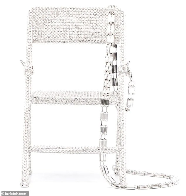 Furniture chic: Called 'crystal chair bag,' the item's only similarity to a purse it that it features a chain-link shoulder strap, which can be worn over one shoulder or cross-body