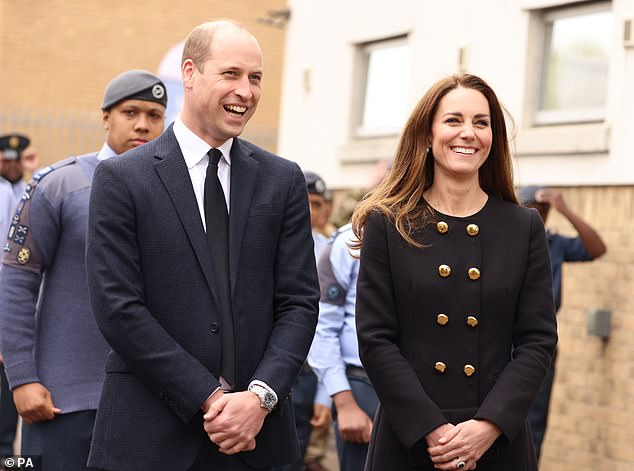'We are in an era of change for the Royal Family. It has been a bit of a rollercoaster, and if Her Majesty was to step aside, it's my opinion William and Kate would give the whole country stability,' says Gary. (Above, the Duke and Duchess of Cambridge with Air Cadets in East London on April 21)