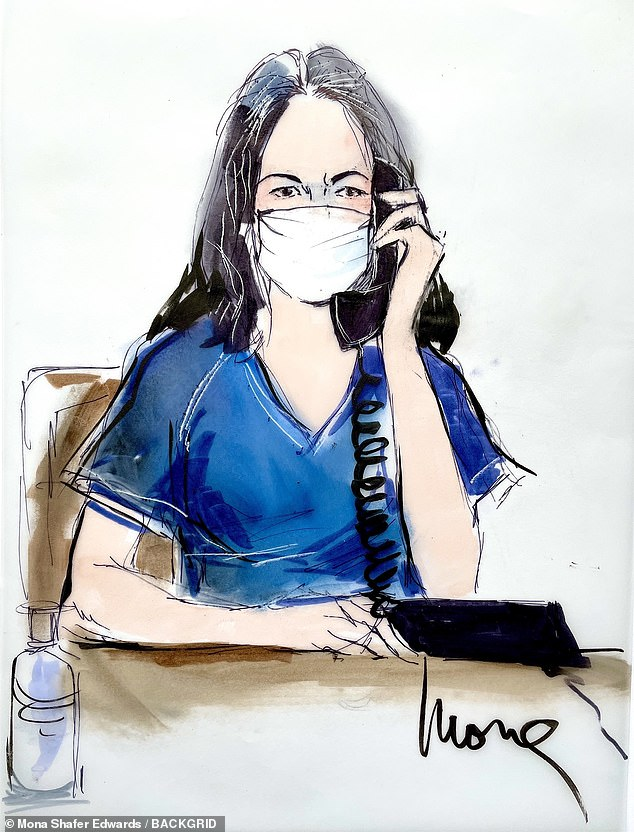 A sketch by Mona Shafer Edwards was sent out on the realghislaine.com Twitter account, which is run by Maxwell's family members
