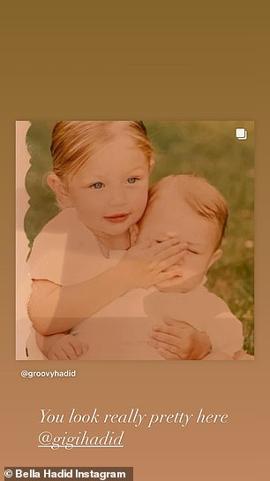 She also took to her Instagram to gush about her older sister, with the beauty sharing throwback snaps from their childhood
