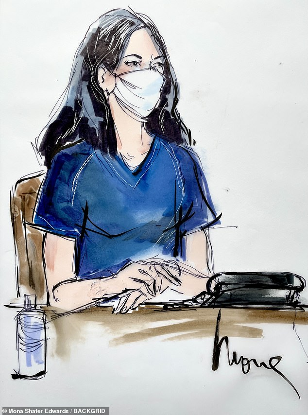 An alternate sketch by Mona Shafer Edwards shows Maxwell in court