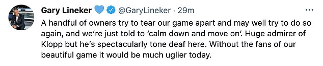 Gary Lineker felt Klopp had got the tone of his pre-match remarks on The Super League wrong