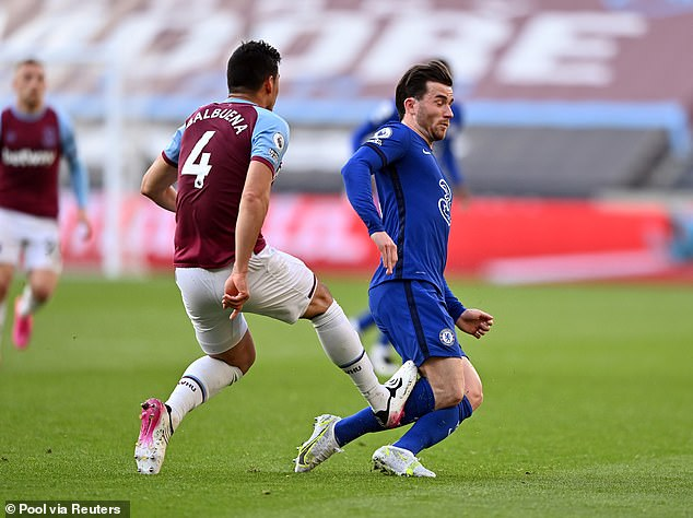 Fabian Balbuena (left) was sent off for catching Ben Chilwell after clearing the ball