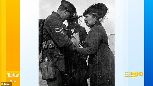 Archives: Richard also shared this picture of his grandfather saying goodbye to his mother as he left for Gallipoli