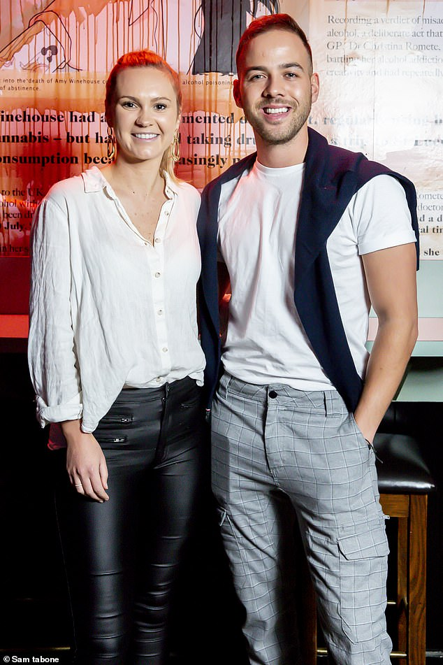 Pals:Chelsie McLeod was all smiles at the launch of Hotel Animal in Melbourne on Saturday night. The former Bachelor star, 29, posed alongside her friend, Married At First Sight New Zealand star Samuel Levi, 28, at the event. Both pictured