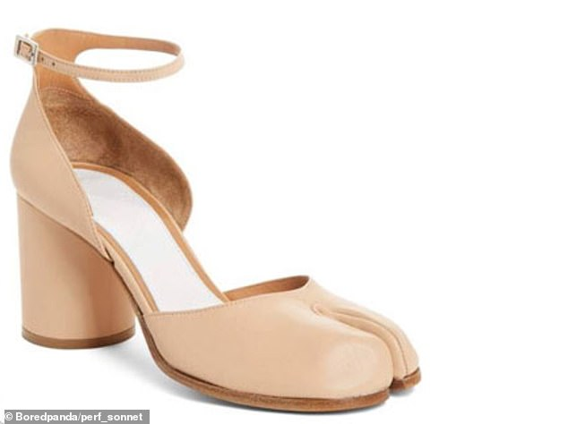 Another Nordstrom shopper, fromAtlanta, Georgia, was left baffled by$825 strapped heels that bizarrely have a double toe post - seemingly not the most practical design for humans