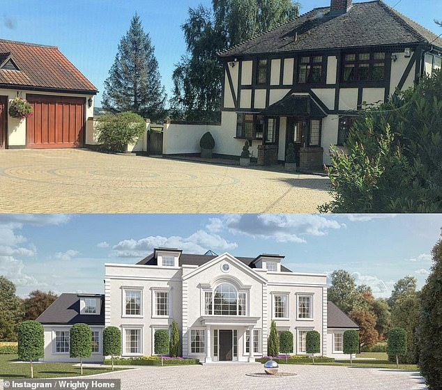 Impressive: The pair purchased the property in October 2019, and in January 2020, it was revealed that they are demolishing the four-bedroom farmhouse onsite for a lavish new home (before, top, and the CGI image of their future plans, below)