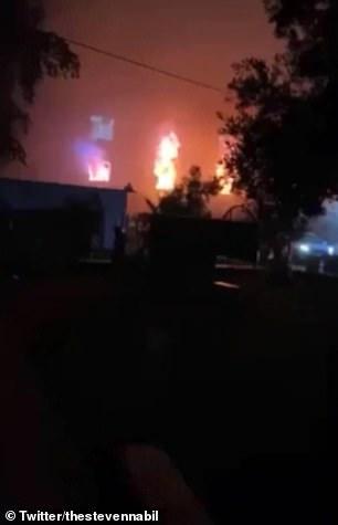 Video footage shows the fire raging across the hospital as the flames reach the top of the building