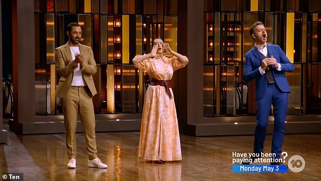 Farewell: The judges - Andy Allen, Melissa Leong and Jock Zonfrillo - enthusiastically cheered on YoYo as she left the building