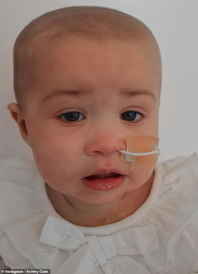 Poor baby: Doctors had found tumours in Azaylia's stomach, her spleen, her liver and her kidneys, in addition to tumours in her brain, as the chemotherapy wasn't working