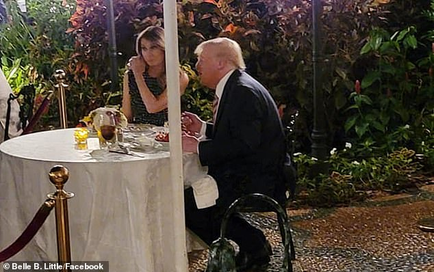 Trump and his wife Melania are seen having dinner at Mar-a-Lago in a recent picture