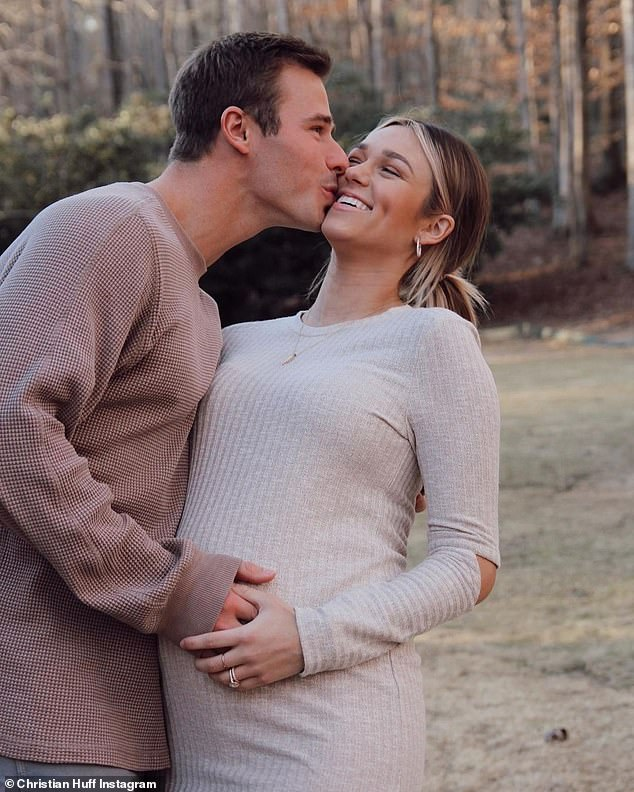 Happy couple: Late last month, Robertson and her husband revealed they selected the name of their soon-to-be bundle of joy, who is due any day