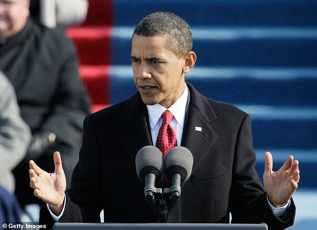 President Barack Obama giving his inaugural address in Washington, DC, on January 20, 2009