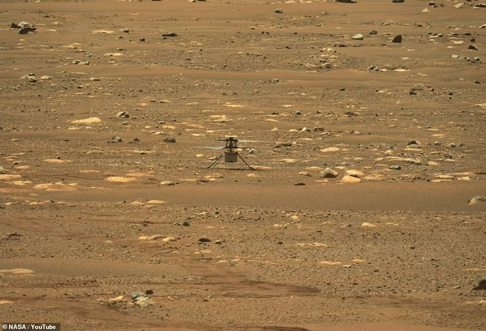 Ingenuity as seen on Mars on April 7, 2021 in a photo taken by the rover Perseverance.The Ingenuity experiment will end in one month in order to let Perseverance return to its main task: searching for signs of past microbial life on Mars
