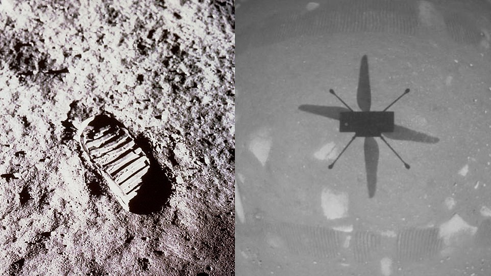 Ingenuity lead, MiMi Aung, said every image of the helicopter on Mars is special, but the most iconic is the one taken by the craft showing its shadow on the surface (right), which she compared in importance to the first image of Buzz Aldrin's boot print on the Moon in 1969 (left)