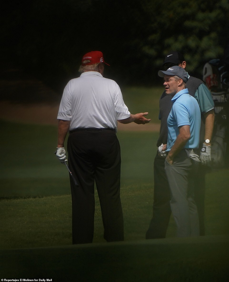 Donald Trump was on Sunday pictured golfing with close ally Jim Jordan days after the Republican congressman's furious spats with Democrats Val Demings and Maxine Waters over police reform and COVID-19