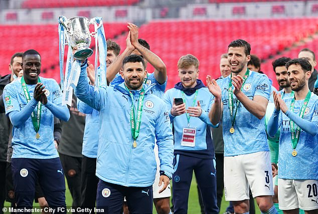 Aguero was able to lift the trophy with his team-mates but did not get any match action