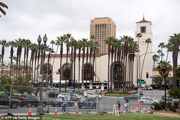 Covid-19 precautions: The Oscars are adapting to the pandemic by having only 170 attendees at LA's Union Station (pictured as preparations got underway on Friday)