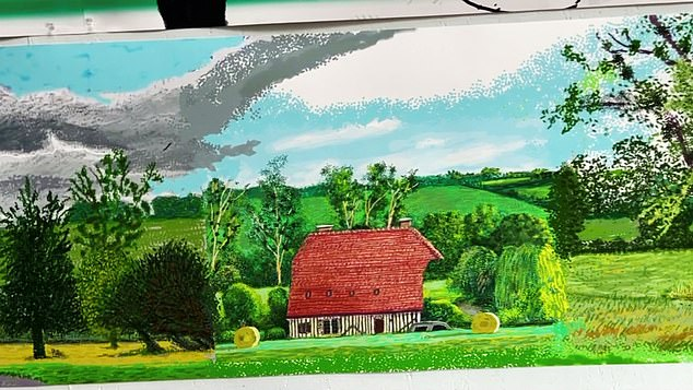 David Hockney shows his Bayeux Tapestry style painting of the passage of the seasons in Normandy