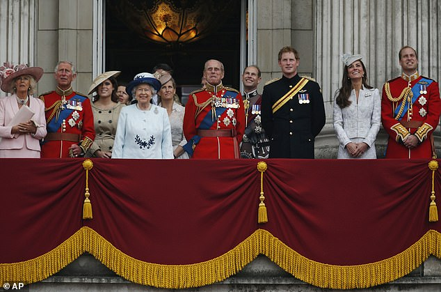 A smaller-sized 'Firm' could see just Charles, Camilla, William, the Duchess of Cambridge, Princes George and Louis and Princess Charlotte as senior royals. Pictured: The Royal family in 2014