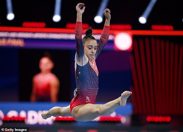 The youngster won the floor exercise for her third medal of a remarkable debut appearance