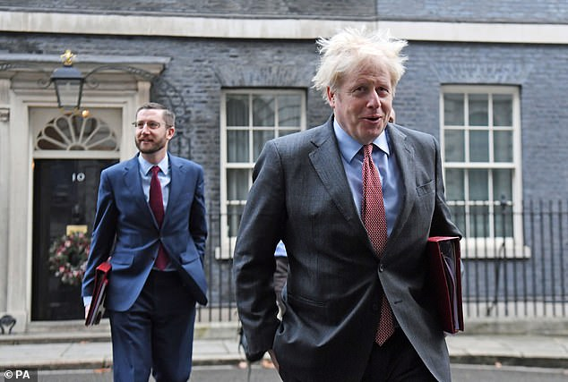 Cabinet Secretary Simon Case (pictured with Mr Johnson) will be grilled by MPs this afternoon about a string of explosive allegations made by Mr Cummings