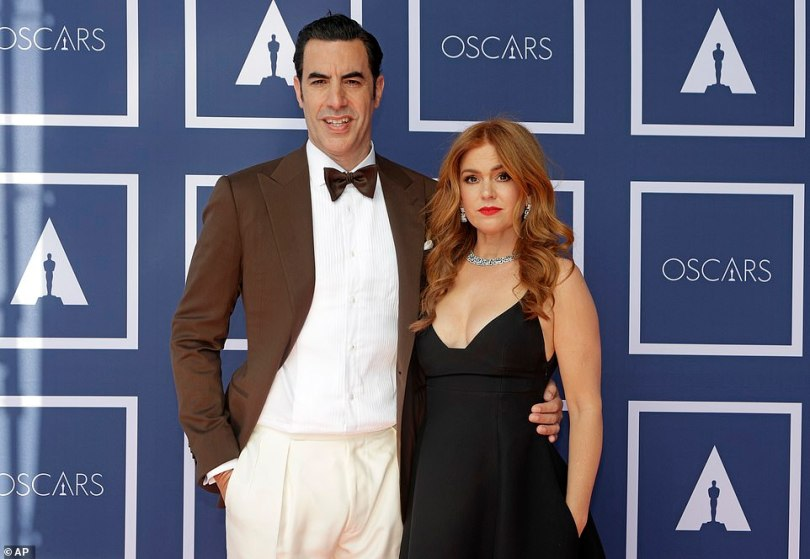 Support: British star Sacha Baron Cohen attended the ceremony with his wife Isla Fisher