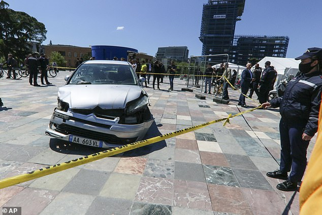 Police later arrested the 32-year-old driver of the vehicle who had driven erratically in Skanderberg Square, where many people had been queueing to receive a dose of the Covid-19 vaccine at the time
