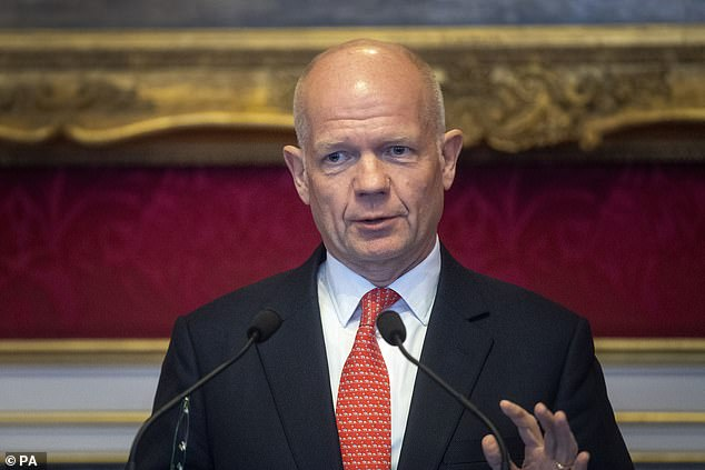 Lord Hague (pictured) says armies will be sent to ensure oil is not drilled and to protect natural environment