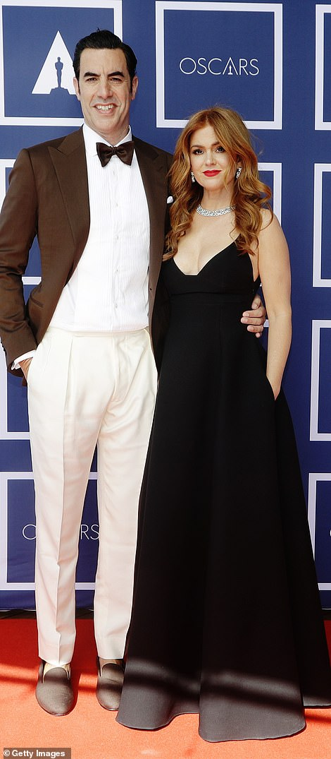 Sacha Baron Cohen and Isla Fisher on the red carpet in Sydney, Australia at a screening of the Oscars