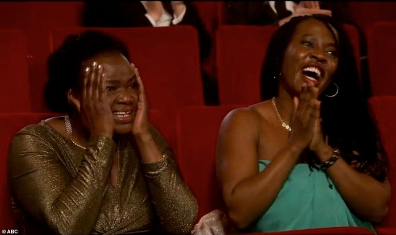 Oh no: Daniel's mother and sister were in attendance as they couldn't help but react in disbelief as he made mention of his parents getting intimate