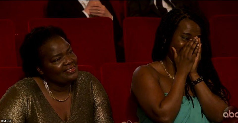 Tuning in: The actor's mom and sister were watching his acceptance speech from the UK
