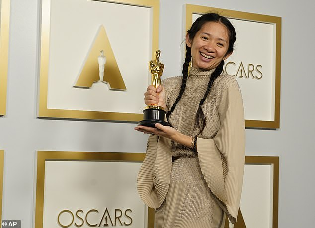 Beaming: Zhao proudly posed with her Best Picture Oscar in the press room of Union Station