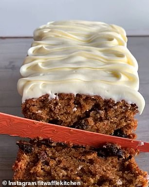 Once the carrot cake has cooled completely, use a piping bag to spread the cream cheese frosting over the top. Slice and serve