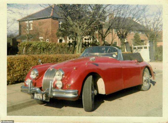 Here's how the stunning Jaguar, registration 'NRN 6', looked before the crash into a tree in 1996 that caused the catastrophic damage. The photo was provided courtesy of the vendor's family