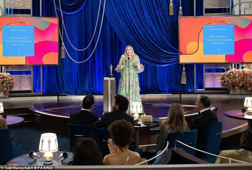 Humorous:She said: 'They said write a speech and I didn't because I didn't think this would happen, I'm going to be in trouble with Stephen Soderbergh, I'm so sorry...'