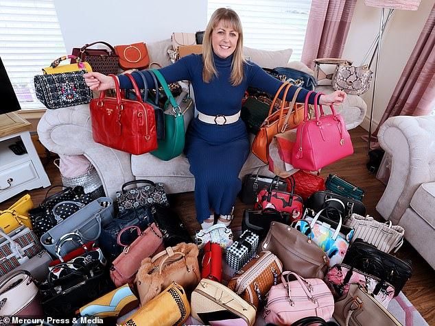 A mum who owns more than 350 handbags has revealed she has spreadsheet to keep track to her extensive collection